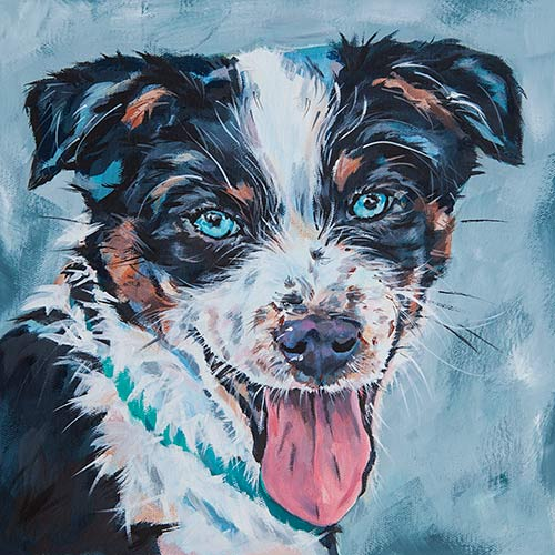 A painted pet portrait by Mary Butler
